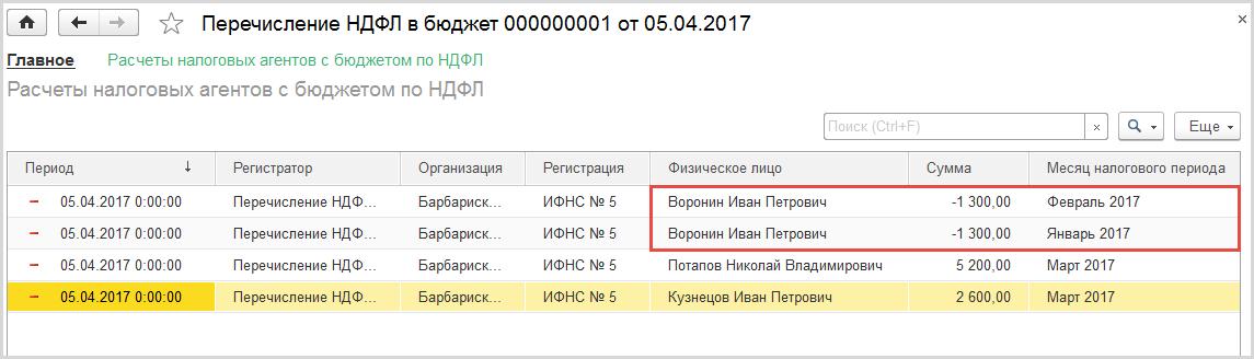 Расчеты налоговых агентов с бюджетом по НДФЛ в ЗУП 3