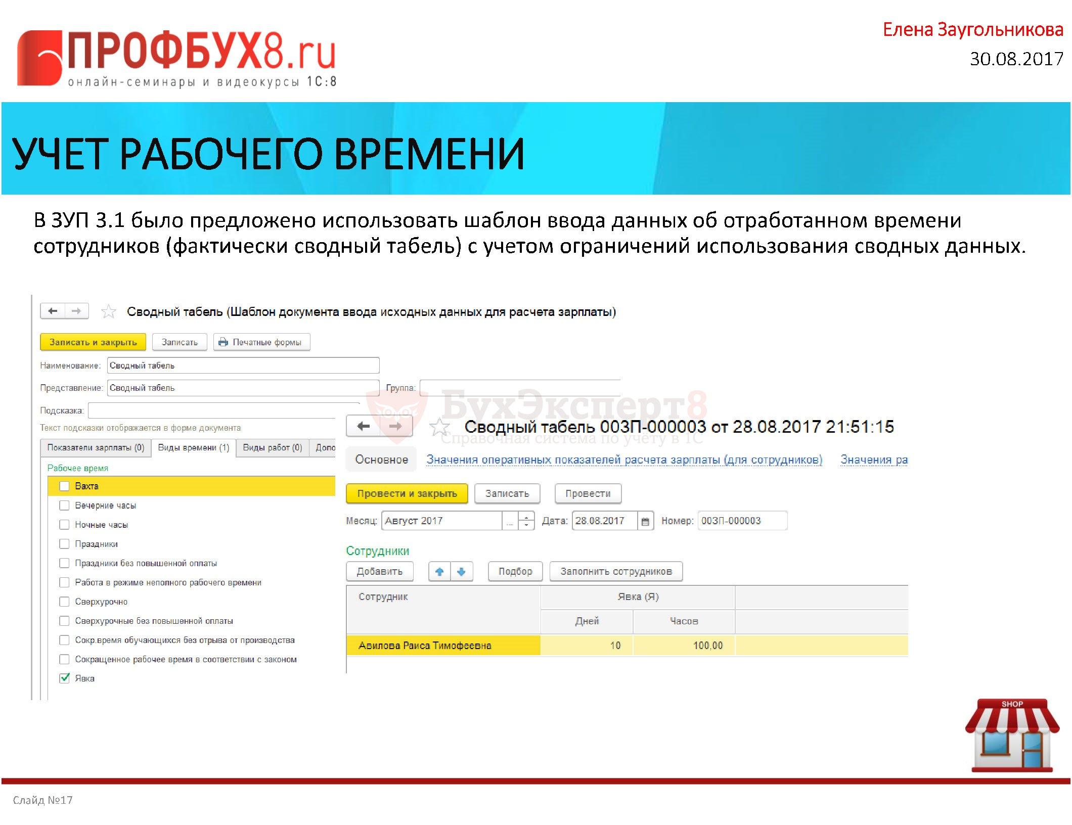 УЧЕТ РАБОЧЕГО ВРЕМЕНИ В ЗУП 3.1 было предложено использовать шаблон ввода данных об отработанном времени сотрудников (фактически сводный табель) с учетом ограничений использования сводных данных.