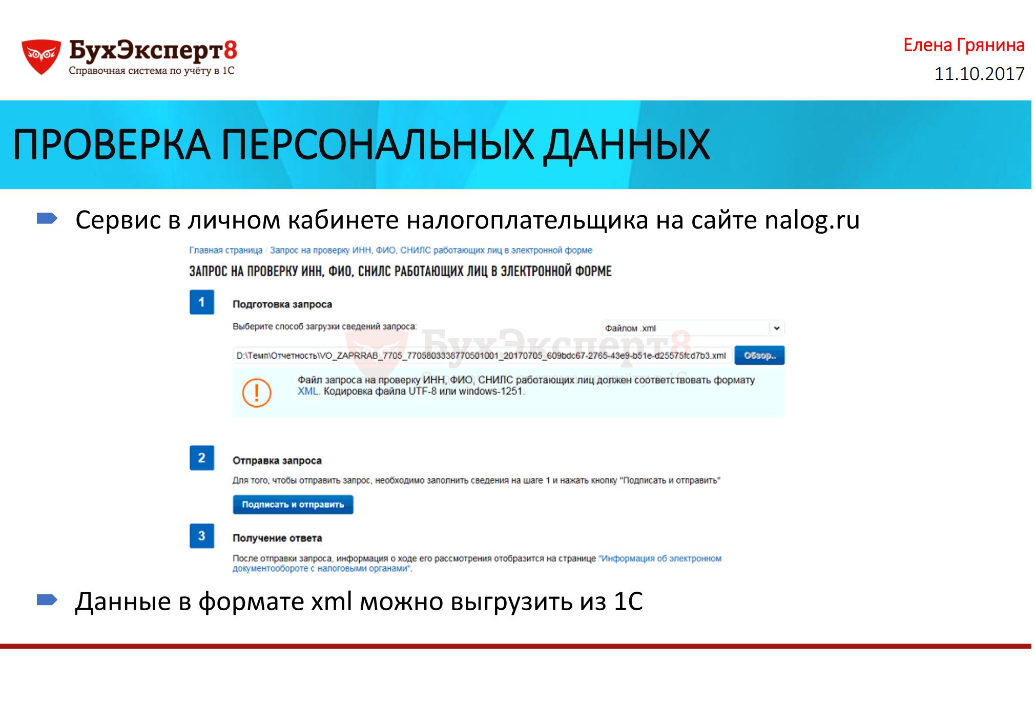 ПРОВЕРКА ПЕРСОНАЛЬНЫХ ДАННЫХ Сервис в личном кабинете налогоплательщика на сайте nalog.ru Данные в формате xml можно выгрузить из 1С