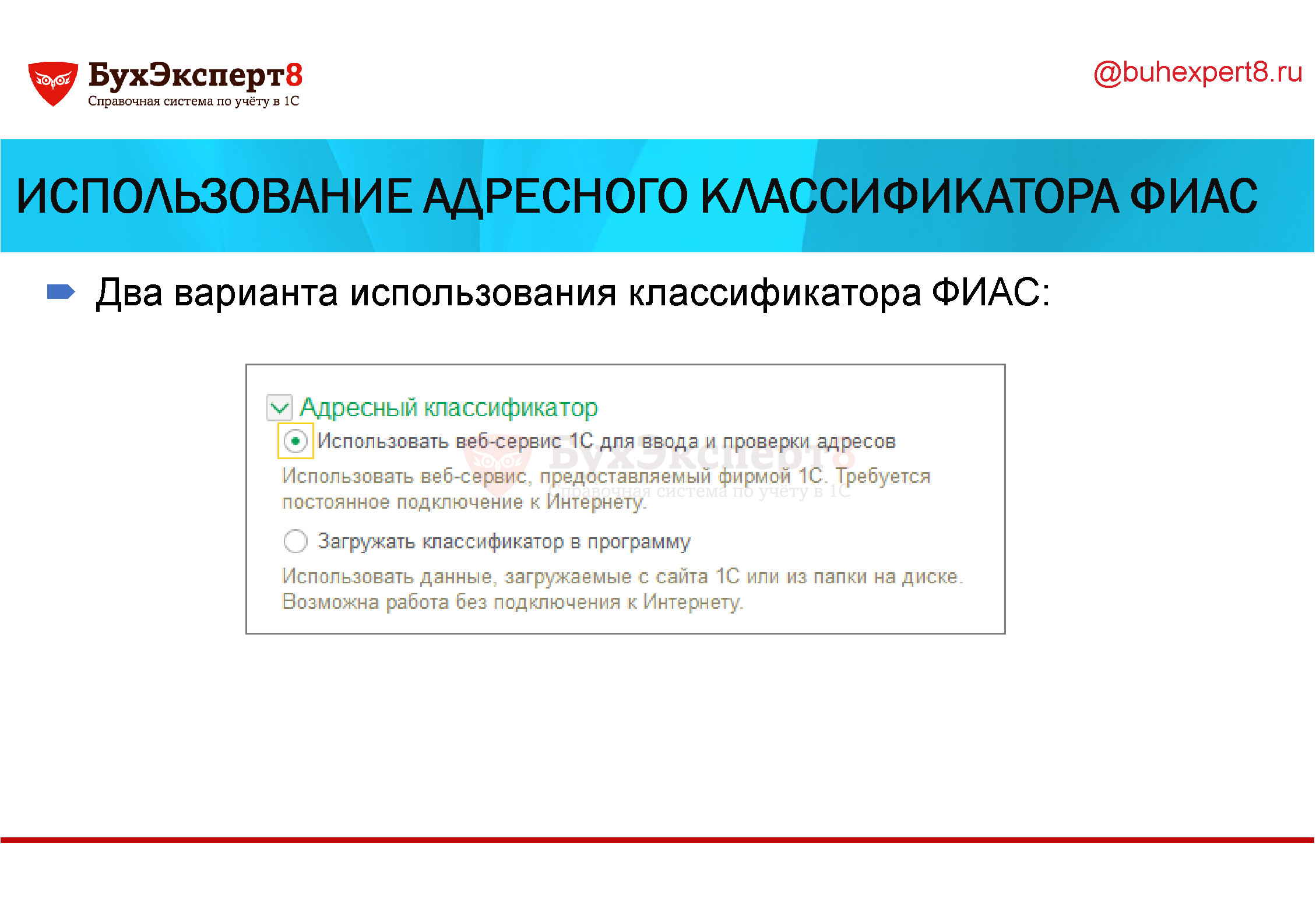 Использование адресного классификатора ФИАС Два варианта использования классификатора ФИАС:
