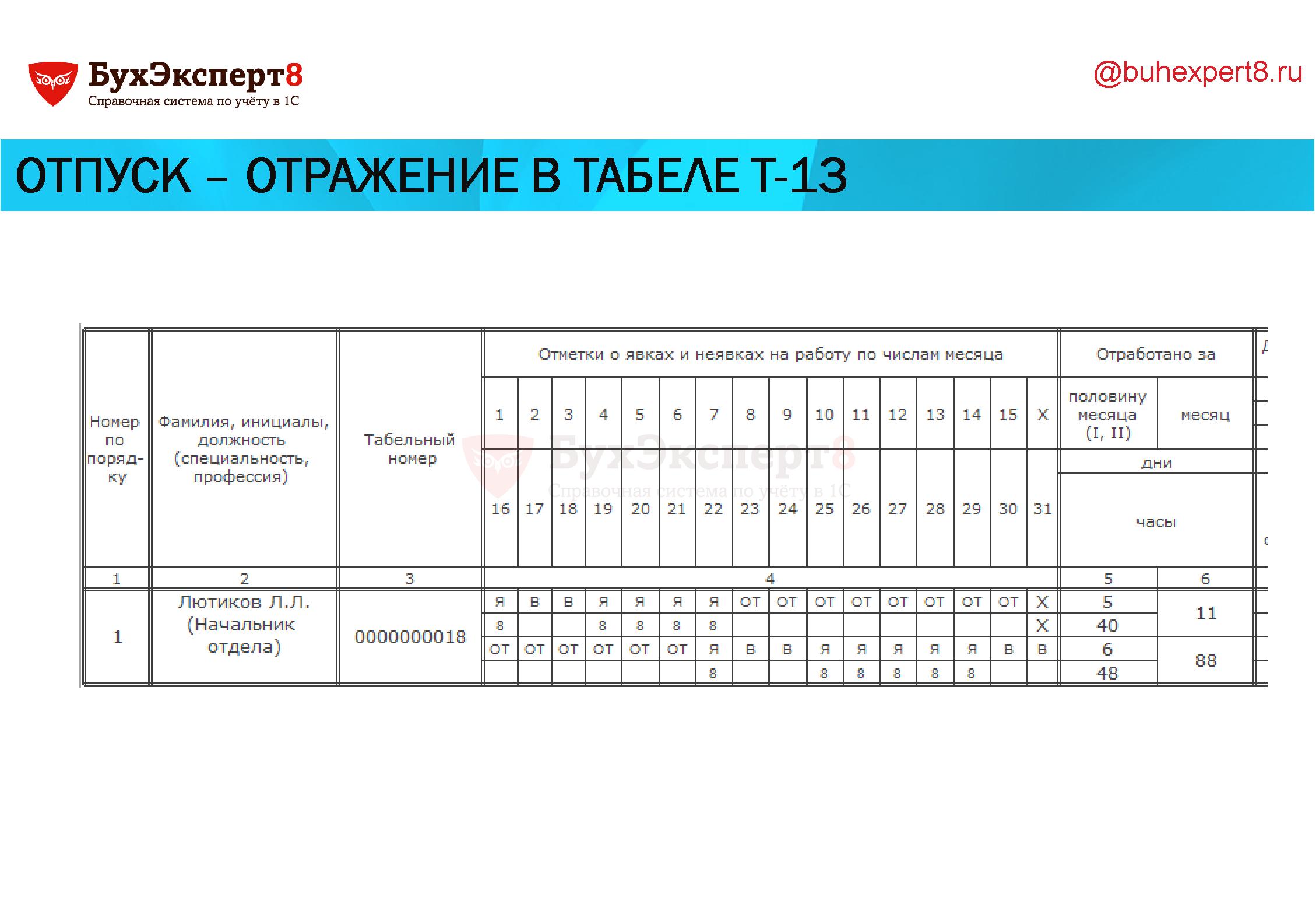 Отпуск – отражение в табеле Т-13