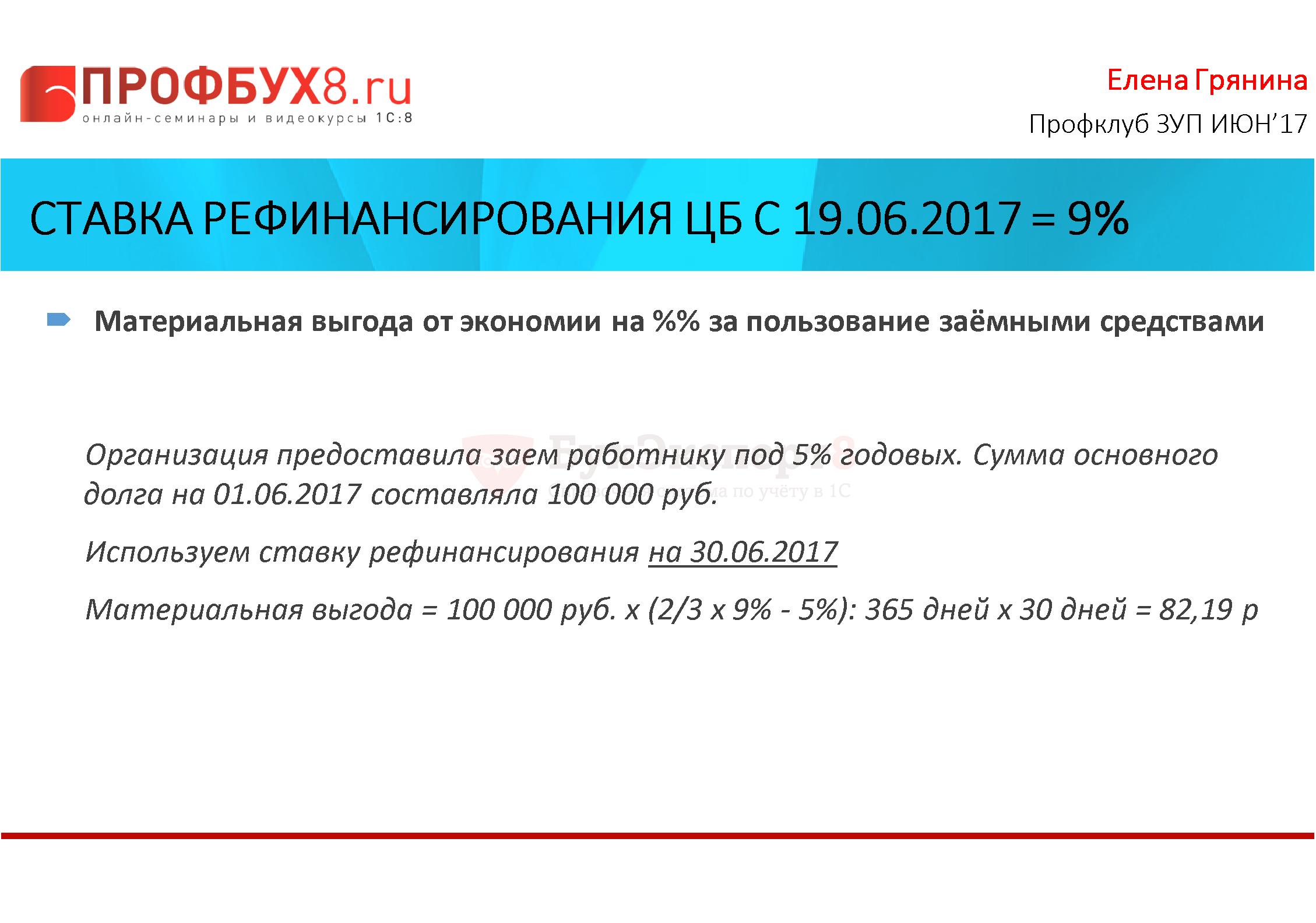 Ставка рефинансирования ЦБ с 19.06.2017 = 9% Материальная выгода от экономии на %% за пользование заёмными средствами Организация предоставила заем работнику под 5% годовых. Сумма основного долга на 01.06.2017 составляла 100 000 руб. Используем ставку рефинансирования на 30.06.2017 Материальная выгода = 100 000 руб. х (2/3 х 9% - 5%): 365 дней х 30 дней = 82,19 руб.