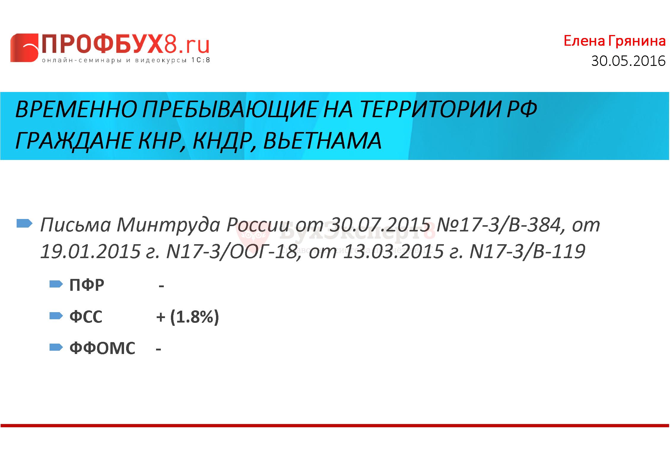 Временно пребывающие на территории РФ граждане КНР, КНДР, Вьетнама Письма Минтруда России от 30.07.2015 №17-3/В-384, от 19.01.2015 г. N17-3/ООГ-18, от 13.03.2015 г. N17-3/В-119 ПФР - ФСС + (1.8%) ФФОМС -