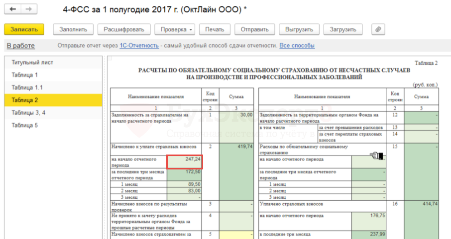 фсс крыма новый образец отчёта за 1 квартал таблица 4.1