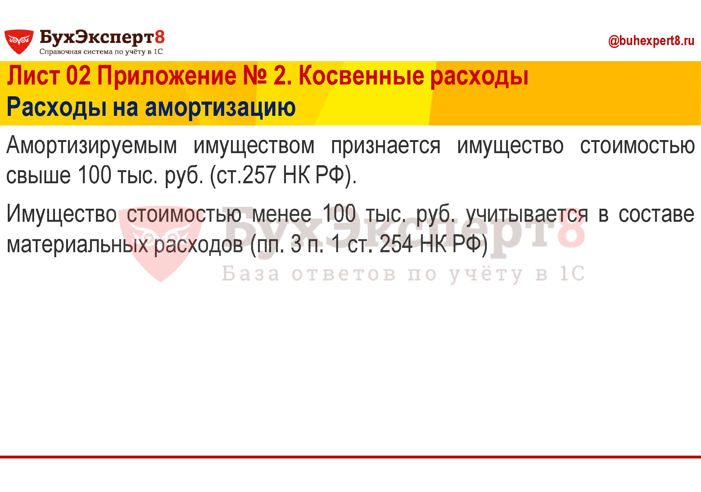 Амортизируемым имуществом признается имущество стоимостью свыше 100 тыс. руб. (ст.257 НК РФ). Имущество стоимостью менее 100 тыс. руб. учитывается в составе материальных расходов (пп. 3 п. 1 ст. 254 НК РФ)
