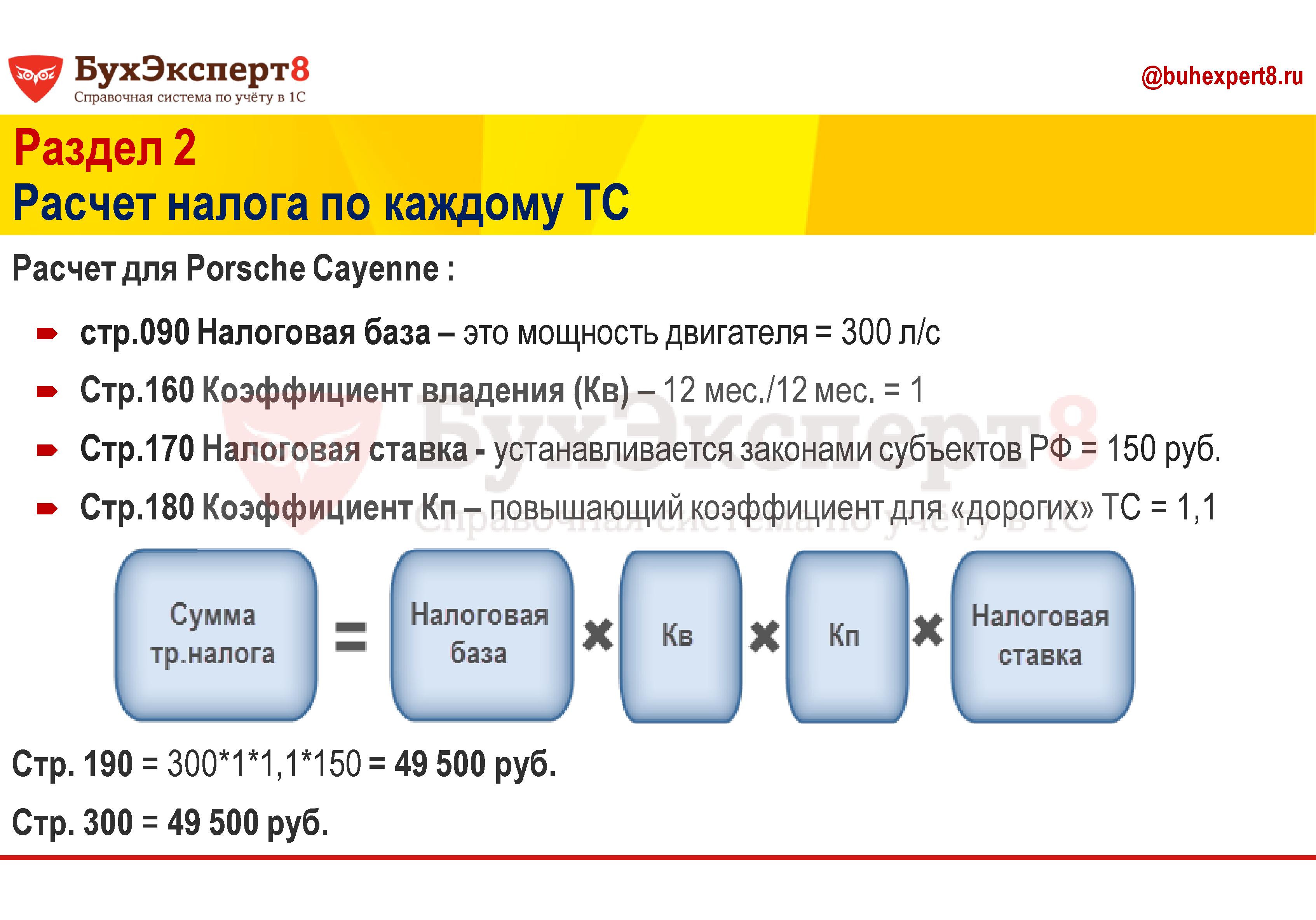 Раздел 2 Расчет налога по каждому ТС Расчет для Porsche Cayenne : стр.090 Налоговая база – это мощность двигателя = 300 л/с Стр.160 Коэффициент владения (Кв) – 12 мес./12 мес. = 1 Стр.170 Налоговая ставка - устанавливается законами субъектов РФ = 150 руб. Стр.180 Коэффициент Кп – повышающий коэффициент для «дорогих» ТС = 1,1 Стр. 190 = 300*1*1,1*150 = 49 500 руб. Стр. 300 = 49 500 руб.