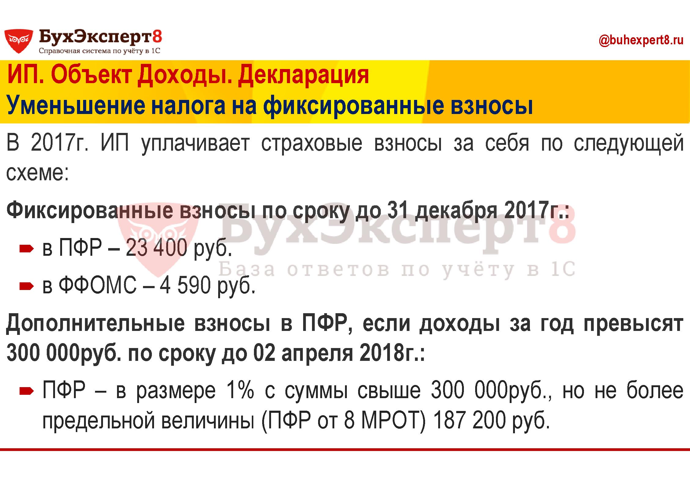 В 2017г. ИП уплачивает страховые взносы за себя по следующей схеме: Фиксированные взносы по сроку до 31 декабря 2017г.: в ПФР – 23 400 руб. в ФФОМС – 4 590 руб. Дополнительные взносы в ПФР, если доходы за год превысят 300 000руб. по сроку до 02 апреля 2018г.: ПФР – в размере 1% с суммы свыше 300 000руб., но не более предельной величины (ПФР от 8 МРОТ) 187 200 руб.